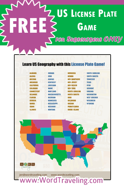 Free Printable US Map License Plate Travel Game