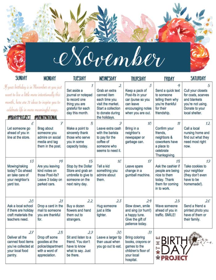 The Birthday Project Calendar of Intentional Kindness