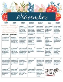 The Birthday Project – November Kindness Calendar